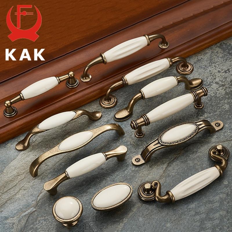 KAK 5 piece Antique Bronze Ceramic White Cabinet Handles Zinc Alloy Drawer knobs Wardrobe Door Handles European Furniture Handle